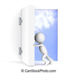Vision. - 3D little human character opens a massive door. ...