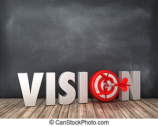 VISION 3D Word with Target on Chalkboard Background