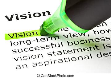 'vision', aangepunt, in, groene