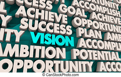 Vision Achieve Success Plan Words 3d Render Illustration