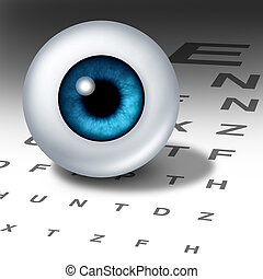 Vision and eyesight for healthy eyes with good ocular focus using an eye chart to help focus for near sighted and far sighted retina and lense diagnosis from an optometrist from the department of ophthalmology.