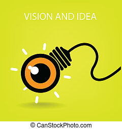 vision and ideas sign, eye icon and business symbol, light bulb symbol