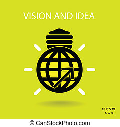 vision and ideas sign, world icon and business logo, light bulb symbol