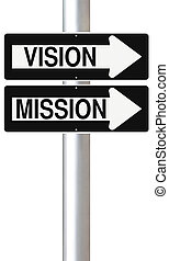 Vision and Mission - Conceptual one way street signs on a...