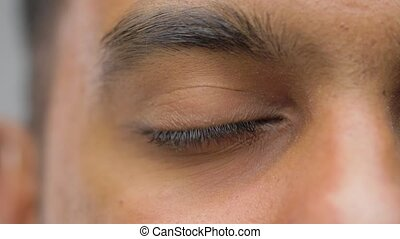 close up of south asian male eye with brown iris - vision...