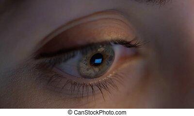 close up of woman eye looking at computer screen