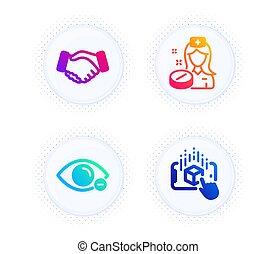 vision., aperto mão, set., ícones, miopia, sinal., pílula, negócio, augmented, realidade, medicina, vetorial, enfermeira, mão, olho