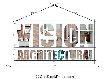Vision architectural illustration in house blueprint