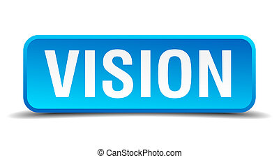 Vision blue 3d realistic square isolated button
