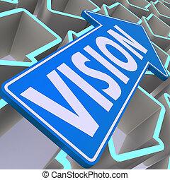 Vision blue arrow