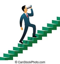 Businessmen climbing up steps