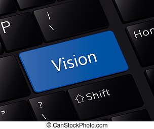vision button on keyboard. vision concept . vision illustration