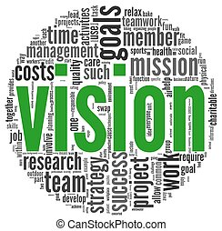 Vision and strategy concept in word tag cloud