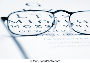 Vision Correction - An eye chart with a pair of glasses and...