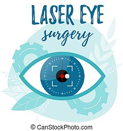 Vision correction by a laser beam. Eye surgery. Ophthalmologist vector illustration.