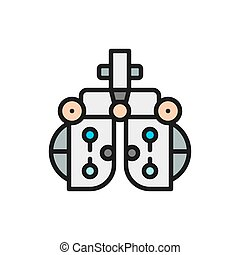 Vision correction device, eye exam flat color line icon.