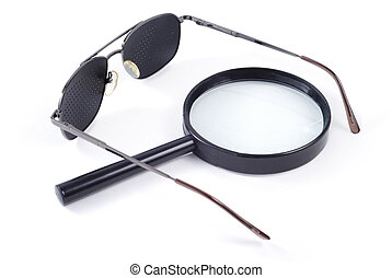 Vision Correction - Glasses and magnifier isolated over ...