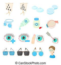 Vision correction icons set, cartoon style - Vision ...