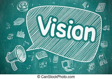Vision - Doodle Illustration on Blue Chalkboard.