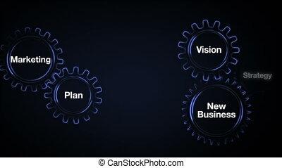 vision, engrenage, commercialisation, mot clé, écran, business, stratégie, 'business', nouveau, toucher, homme affaires, plan