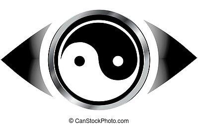 Vision eye logo with harmony symbol