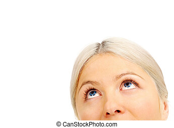 Vision - Face of blonde female looking upwards in isolation