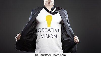 vision, geschaeftswelt, erfolgreich, junger, kreativ, geschäftsmann