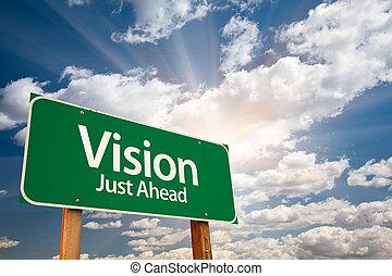vision, grün, straße zeichen, aus, wolkenhimmel