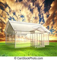 vision, hus, projekt, fält, solnedgång, färsk