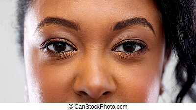 close up of african american woman face