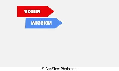 Vision, mision, strategy goals tactics, animated flags with lettering on white background, soft skills concept, 4k video