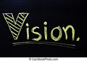 vision, mot, manuscrit, à, chalk.