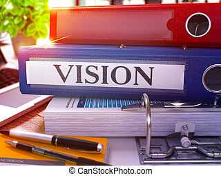 Vision on Blue Ring Binder. Blurred, Toned Image.