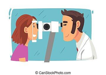 vision, ophtalmologie, patient, dessin animé, docteur, équipement, examiner, vue, professionnel, vecteur, illustration, diagnostic, correction, mâle, ophtalmologiste