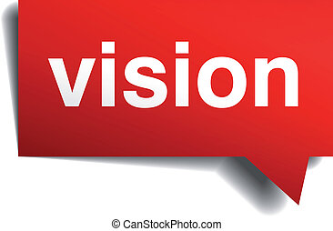 Vision red 3d realistic paper speech bubble isolated on...