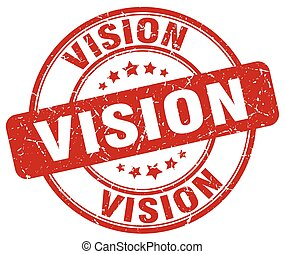 vision red grunge round vintage rubber stamp