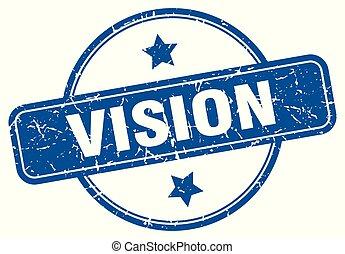 vision round grunge isolated stamp