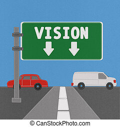 Vision sign concept with stitch style on fabric background