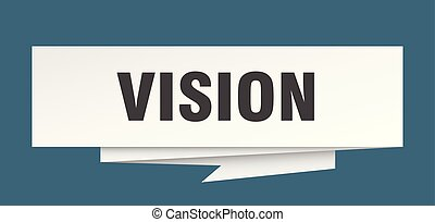 vision sign. vision paper origami speech bubble. vision tag....