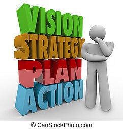 vision, strategi, plan, handling, tänkare, bredvid, 3, ord