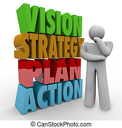 Vision Strategy Plan Action Thinker Beside 3D Words - Vision...