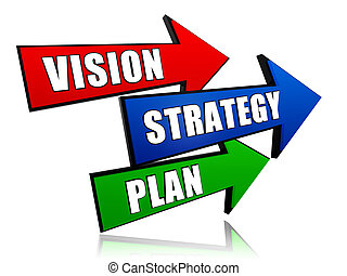 vision, strategy, plan in arrows - vision, strategy, plan -...