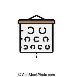 Vision test chart flat color line icon. - Vector vision test...