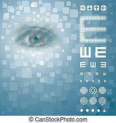 Vision Test - Eye background with vision test chart. Vector...