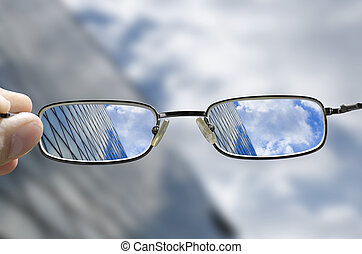 vision, von, a, glas, geschaeftswelt, gebäude
