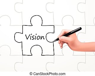 vision word and puzzle drawn by human hand