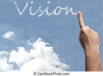 Vision word on blue sky