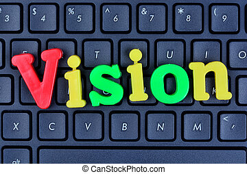 Vision word on computer keyboard