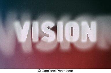 Vision word on vintage blurred background