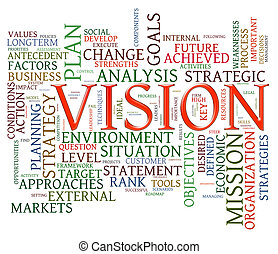 Vision word tags - Illustration of wordcloud representing...